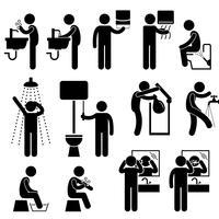 Persönliche Hygiene, die Hand-Gesichts-Duschbad-bürstende Zähne Toiletten-Badezimmer-Strichmännchen-Piktogramm-Symbol wäscht