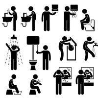 Personlig hygien Tvätthand Ansiktsdusch Badborste Tand toalett Badrum Pinne Figur Pictogram Ikon.