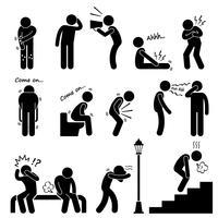 Krankheit Krankheit Krankheit Symptom Syndrom Zeichen Strichmännchen Piktogramm Symbol.