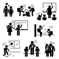Schulbildungs-soziales Problem-Student Teacher Stick Figure-Piktogramm-Symbol Clipart.