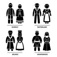 Europa Traditionella Kostym Kläder.