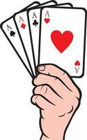 Hand mit Spielkarte vektor