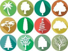 Bäume flache Icons Sammlung vektor