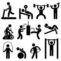 Mann-athletisches Turnhallen-Gymnasium-Körper-Übungs-Trainings-Piktogramm.