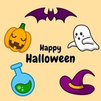 niedliches Halloween-Tageskarikaturelementdesign auf orangem Hintergrund. vektor