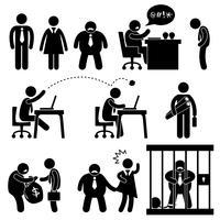 Affärskontor Arbetsplats Situation Boss Manager Ikon Symbol Sign Pictogram. vektor