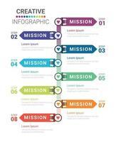 Infografik dünnes Liniendesign und 8 Optionen oder Schritte vektor