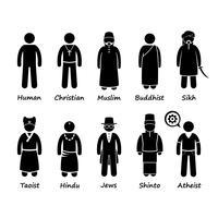 Religion der Menschen in der Welt Strichmännchen-Piktogramm-Symbol Cliparts.