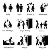 Par pojkvän Girlfriend Love Stick Figur Pictogram Ikon Cliparts. vektor