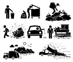 Skräp Sopor Skräpavfall Dump Site Stick Figur Pictogram Ikoner