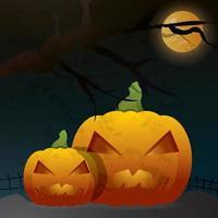 Halloween-Nachthintergrund mit Kürbis vektor