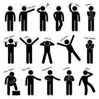 Mann Person grundlegende Körpersprache Haltung Strichmännchen Piktogramm Symbol. vektor