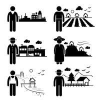 Menschen in der Stadt Cottage House Kleinstadt Highlands Seaside Village Home Strichmännchen Piktogramm Symbol. vektor