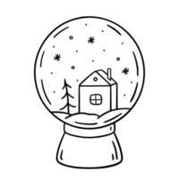Weihnachtsschneekugel verziert mit einem Haus, Fichte und Schneeflocken vektor