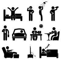 Man Daily Routine Ikon Tecken Symbol Pictogram.