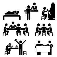 Glücksspiel-Kasino-Mann-Wirt Croupier-Händler-Jackpot-Maschinen-Symbol-Zeichen-Piktogramm.