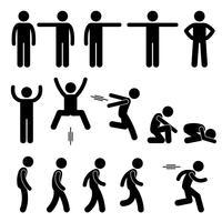 Human Action Posen Haltungen Strichmännchen Piktogramme Symbole.