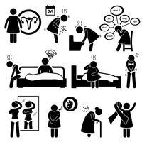 Krankheit der Frau-Krankheit-Krankheit Strichmännchen-Piktogramm-Symbol-Cliparts. vektor