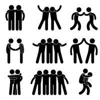 Freund-Freundschafts-Verhältnis-Mannschaftskamerad-Teamwork-Gesellschaftsikonen-Zeichen-Symbol.
