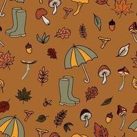 Vektor nahtlose Muster Pilzdruck. Pilze sammeln im Herbstwald, essbare und giftige Pilze, Blätter und Gummistiefel von Pilzsammlern