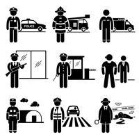 Offentlig säkerhet och säkerhet jobb yrken karriärer. vektor