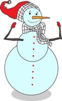 Schneemann-Vektor isoliert. Winterfigur für Karten, Einladungen und Kinderspiele vektor
