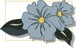 Blumenzweig mit Blättern und Knospen isolierter Vektorhintergrund mit gelbem Rahmenbanner vektor