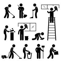 Reinigen Sie das Wischtuch-Staubsauger-Arbeiter-Piktogramm-Zeichen.
