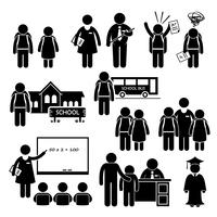 Schüler-Lehrer-Schulleiter-Schulkinder-Strichmännchen-Piktogramm-Ikone Clipart. vektor