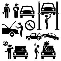 Autoreparatur-Service-Werkstatt-Mechaniker-Strichmännchen-Piktogramm-Ikonen.