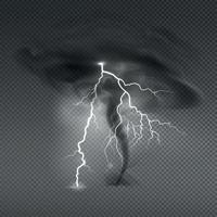realistische Hurrikan-Gewitterkomposition vektor