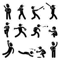 Baseball-Softball-Schwingen-Pitcher-Meister-Symbol-Symbol-Zeichen-Piktogramm. vektor