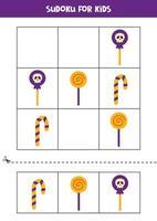 Sudoku-Spiel für Kinder mit Halloween-Süßigkeiten. vektor