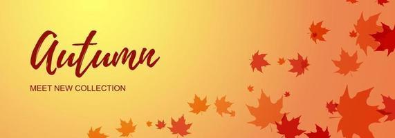 höstens horisontella banner med lönnlöv. plats för text. vektor illustration