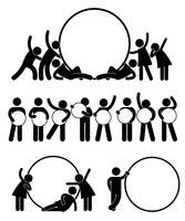 Gruppe des Geschäftsfreunds ein rundes leeres leeres Fahnen-Ikonen-Symbol halten.