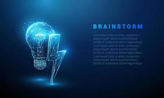 abstrakte blau leuchtende Glühbirne mit Blitz. vektor