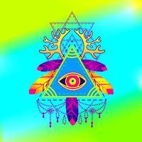 All-seeing öga pyramid symbol. vektor