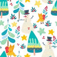 Nahtloses Muster des Winters mit einem Weihnachtswald. vektor