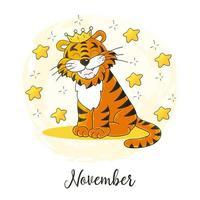 neues Jahr 2022. Cartoon-Illustration für Postkarten, Kalender, Poster vektor