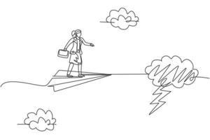 einzelne durchgehende Strichzeichnung junge Geschäftsfrau fliegt mit Papierflugzeug durch Gewitter. professioneller Unternehmer. Minimalismus-Metapher-Konzept. eine linie zeichnen grafikdesign-vektorillustration vektor