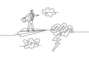 Kontinuierliche einzeilige Zeichnung junger männlicher Arbeiter, der mit Papierflugzeug durch schweres Gewitter fliegt. Geschäftshindernismetapher. minimalistisches Konzept. Einzeilige Zeichnung Design Vektorgrafik Illustration vektor