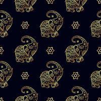 Guld elefant sömlöst mönster.