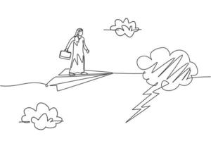 einzelne durchgehende Strichzeichnung eines jungen arabischen Geschäftsmannes, der mit fliegendem Papierflugzeug in ein Gewitter eindringt. Minimalismus-Metapher-Konzept. dynamische eine linie zeichnen grafikdesign vektorillustration vektor