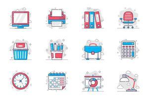 Bürobedarf Konzept flache Linie Icons Set. Management und Arbeitsplatzorganisation. Bündel von Computer, Ordner, Stuhl, Aktentasche, Kalender, andere. Vektorkonzeptionelle Packumrisssymbole für mobile App vektor