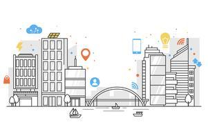 Smart stad i linjekonst med färgglada ikoner