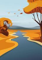 Fluss, der über den Horizont geht. Herbstlandschaft in vertikaler Ausrichtung. vektor