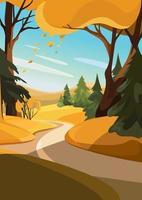Straße aus dem Wald. Herbstlandschaft in vertikaler Ausrichtung. vektor