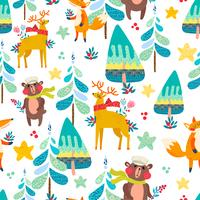 Vinter sömlösa mönster med en julskog.