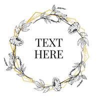 schöne Karte mit einem runden Kranz aus verschiedenen Blumen des Vintage-Gartens. Schwarz-Weiß-Rahmen der Rosen, Hortensien und Hundsrose auf Minze-Hintergrund. Vektor-Illustration vektor