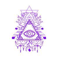 Allsehendes Augenpyramidsymbol. vektor